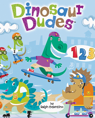 "Hang out with Rex, Spike, Tre, and Flyboys Pip and Zip the ""Dinosaur Dudes!"" Kids will have an awesome time learning numbers 1-10 while reading about the fun antics of these skate boarding, rollerblading, and scootering little dinosaur dudes!"