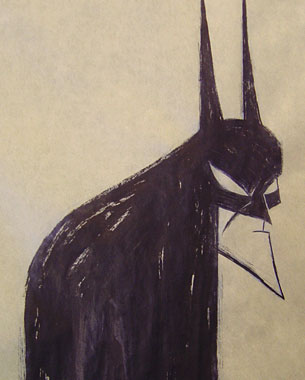 A series of Batman ink studies on three foot sheets of craft paper.
