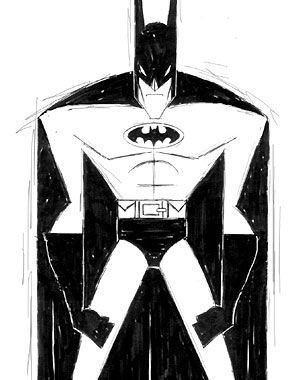 A Batman sketch where I really broke down his design into simple angular shapes.
