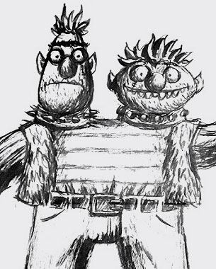 Ink drawings as I envision some of the Sesame Street characters.