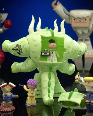 ABS Plastic, giant monster toys with mini figures.