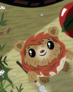 The Star Wars Wicket and Chewie animation / e-card I had been working on late last year is finally up and posted on Hallmarks site. If I had a little more time I would have liked to have added a few more sound effects however, I think it turned out pretty good. Wicket and Chewie were a blast to work on and I was super excited that Lucas liked the designs and approved them along with the initial animatic I did below. The story, art, directing and key frame poses/animation were done by me based on my animatic, all in vector with a few raster files for texture. A big thanks to my pal Will Sanchez for doing the in between animation and really plusing it all up, Will's a jedi animator!