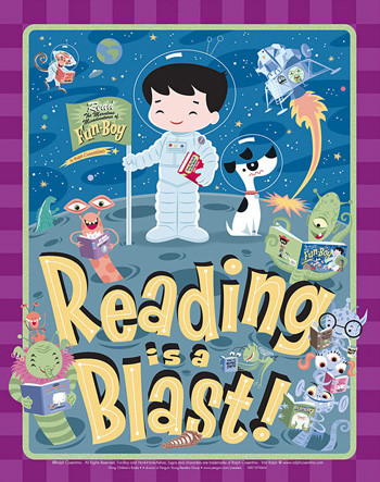 Fun-Boy Reading is a Blast Library Poster